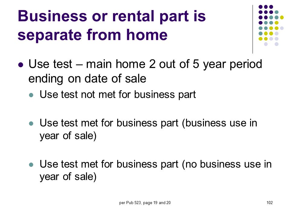 Business or rental part is separate from home