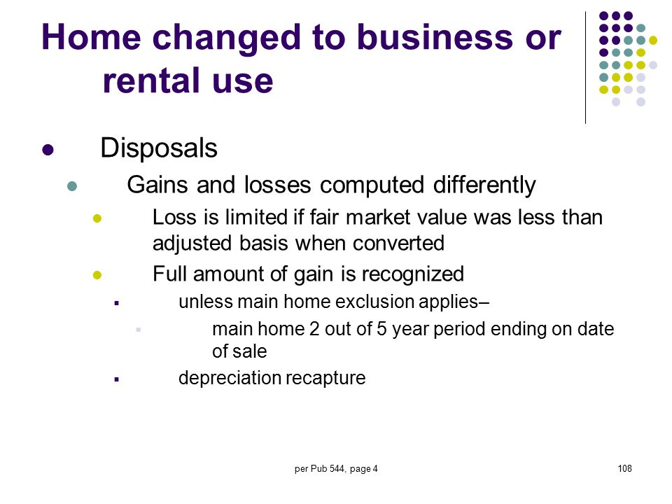 Home changed to business or rental use