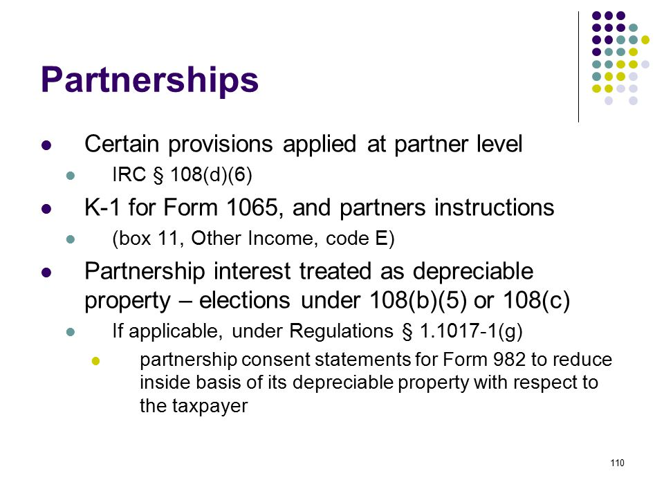 Partnerships Certain provisions applied at partner level