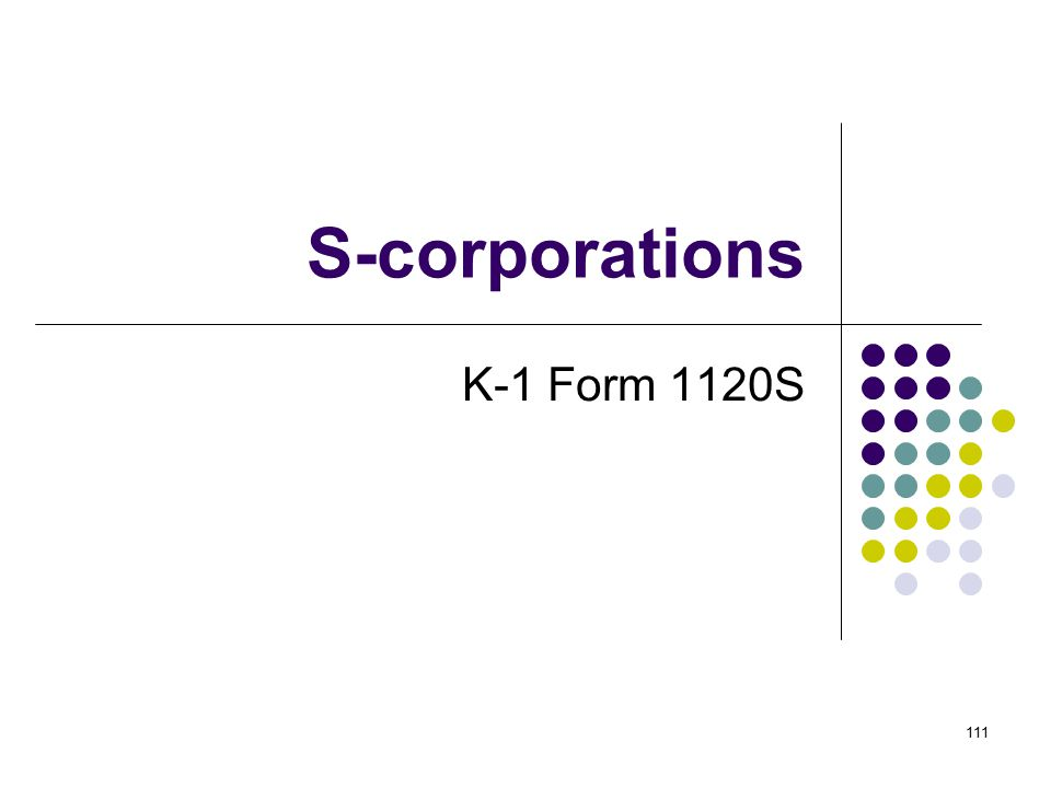 S-corporations K-1 Form 1120S