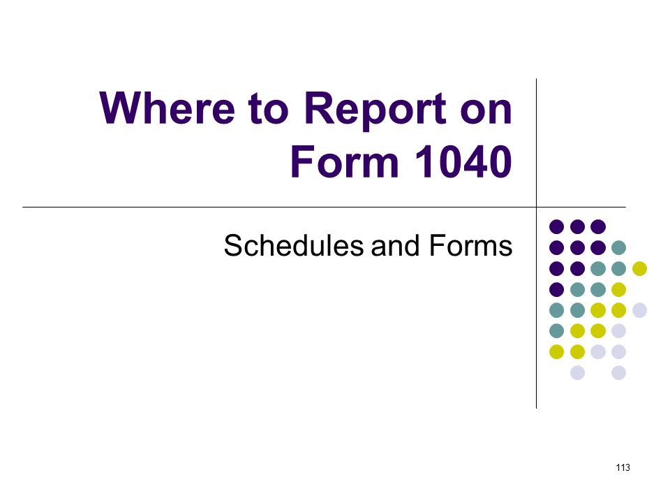 Where to Report on Form 1040 Schedules and Forms