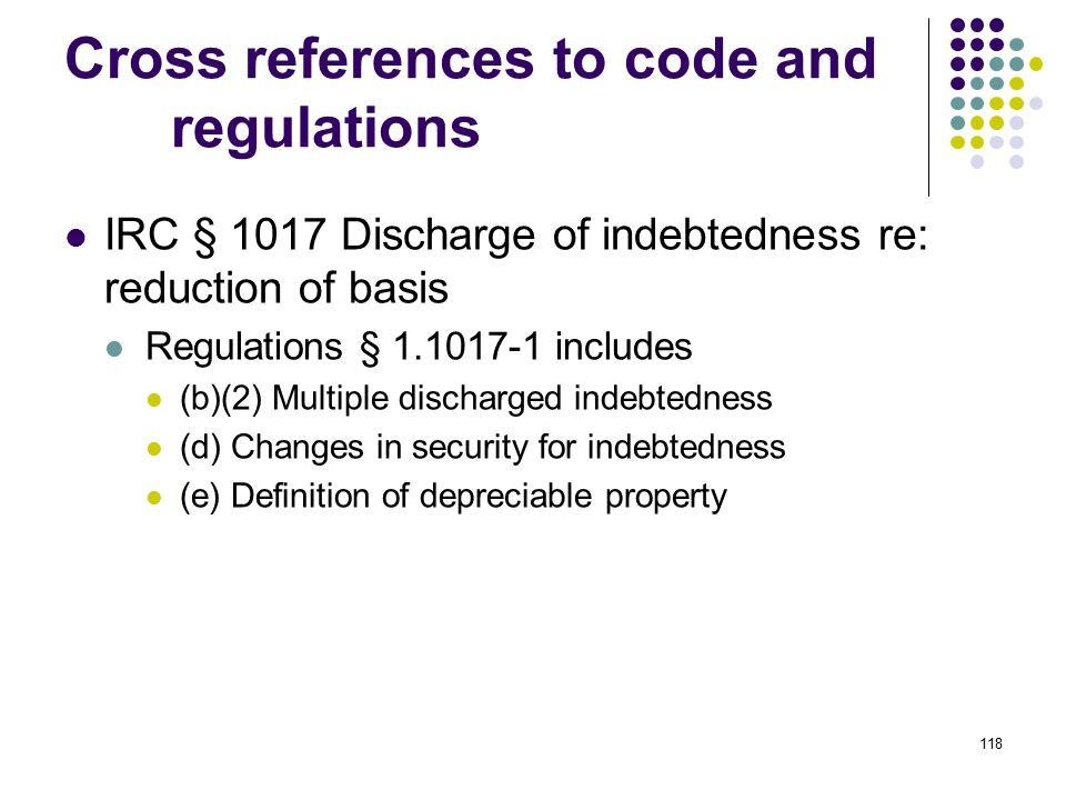 Cross references to code and regulations
