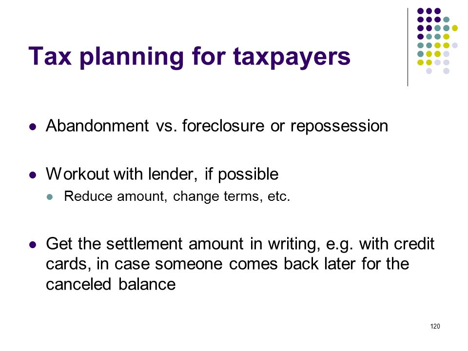 Tax planning for taxpayers