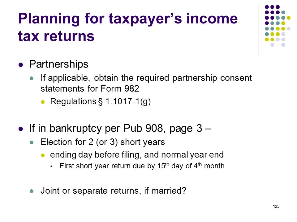 Planning for taxpayer's income tax returns