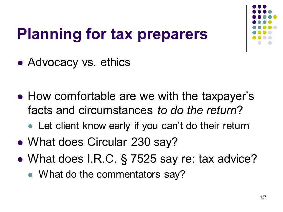 Planning for tax preparers