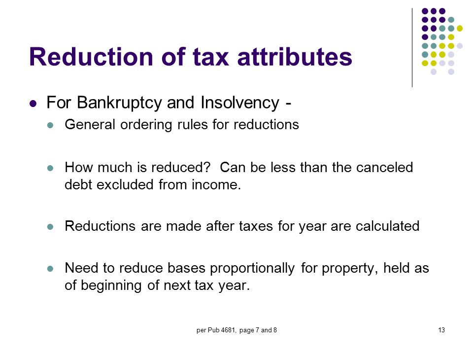 Reduction of tax attributes