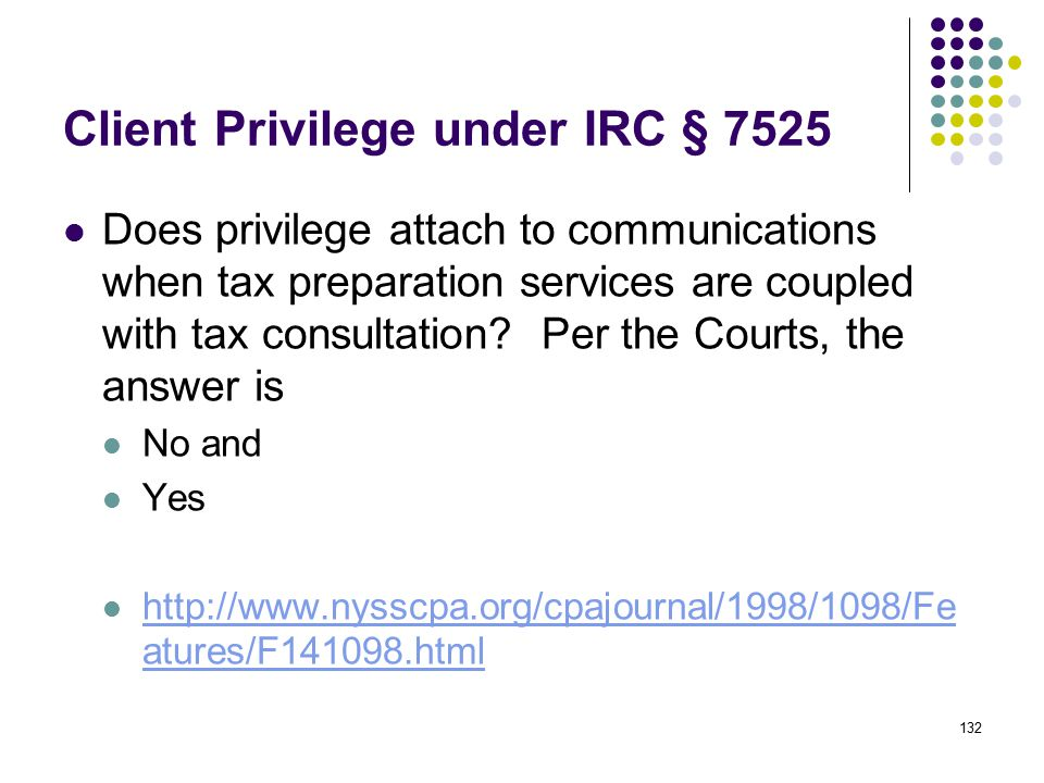 Client Privilege under IRC § 7525