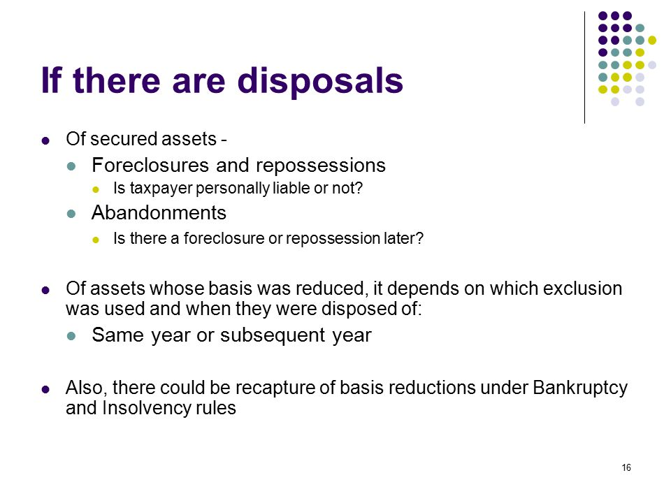 If there are disposals Foreclosures and repossessions Abandonments