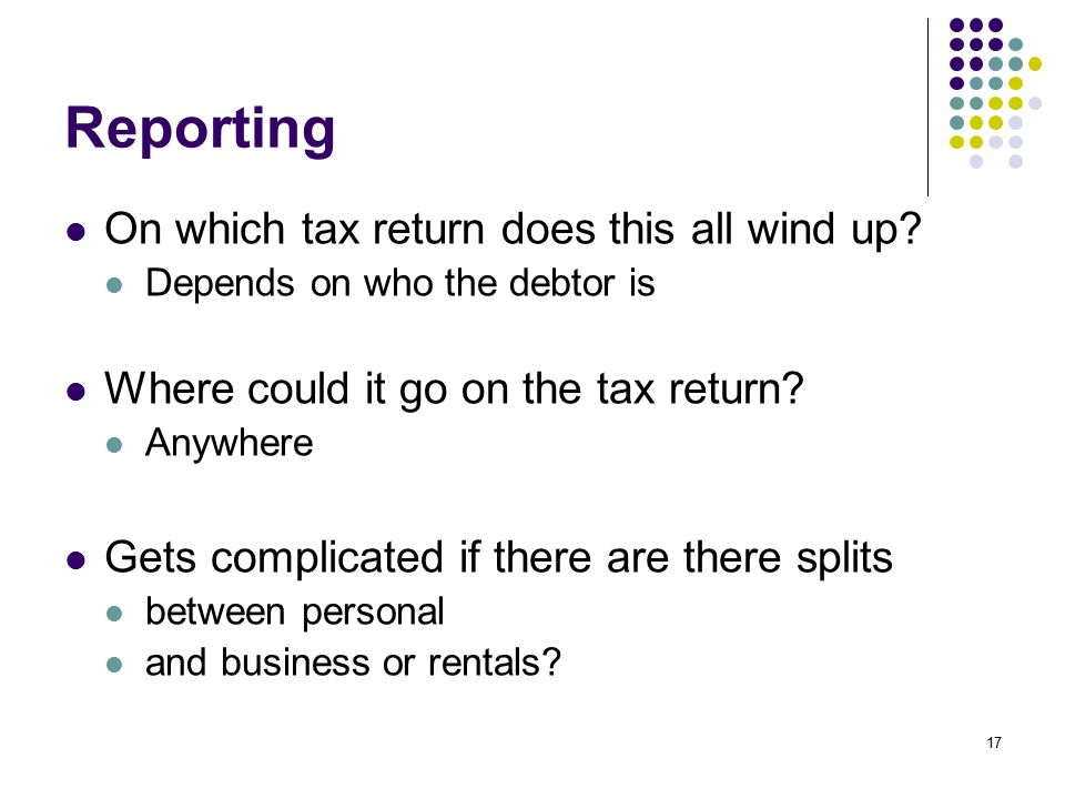 Reporting On which tax return does this all wind up