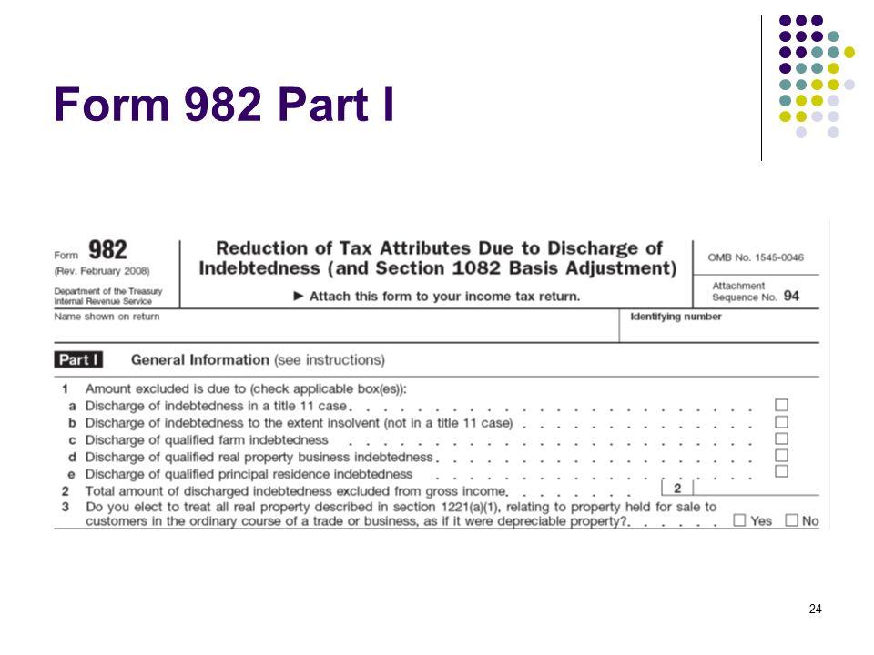 Form 982 Part I
