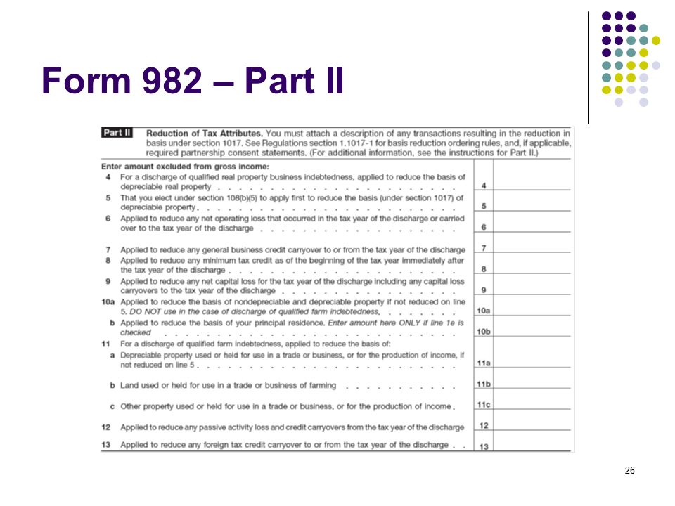 Form 982 – Part II