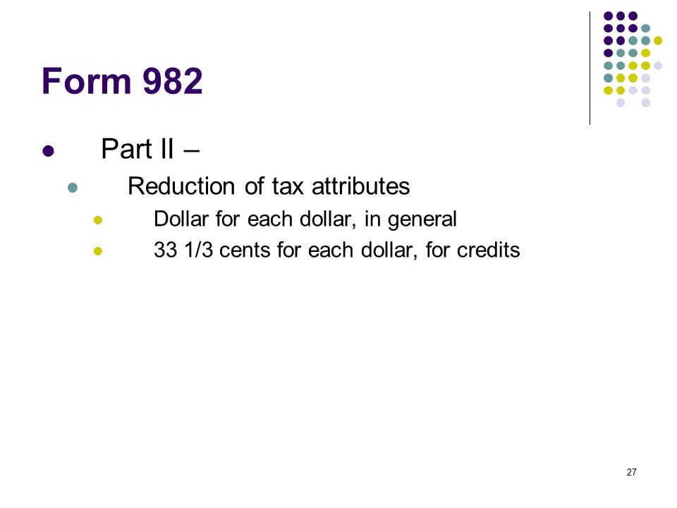 Form 982 Part II – Reduction of tax attributes