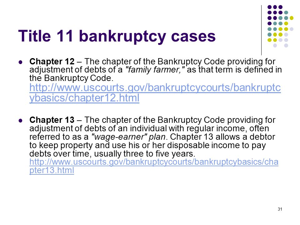 Title 11 bankruptcy cases