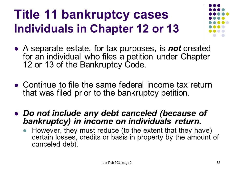 Title 11 bankruptcy cases Individuals in Chapter 12 or 13