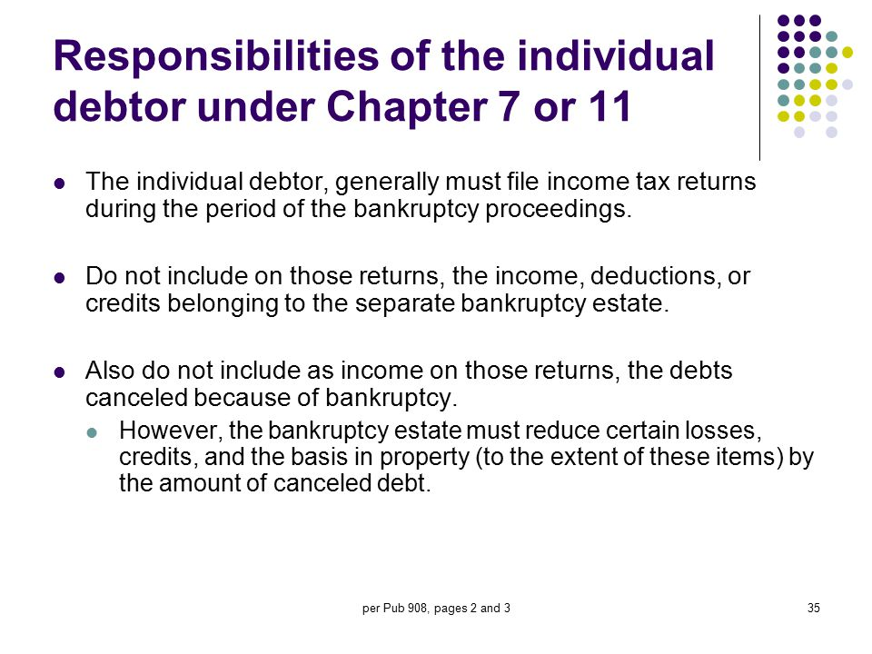 Responsibilities of the individual debtor under Chapter 7 or 11