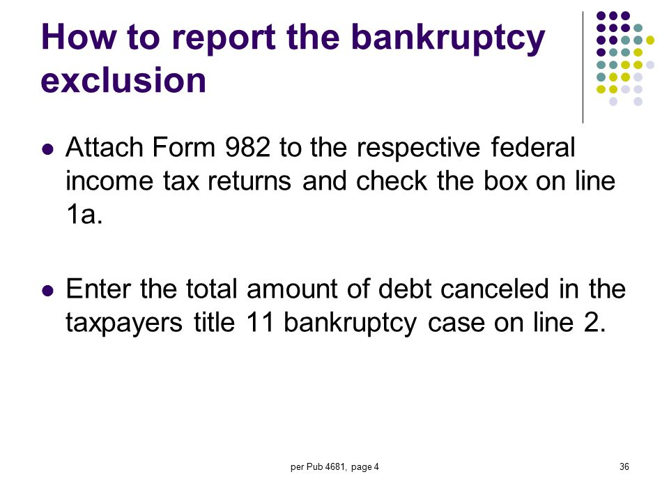 How to report the bankruptcy exclusion