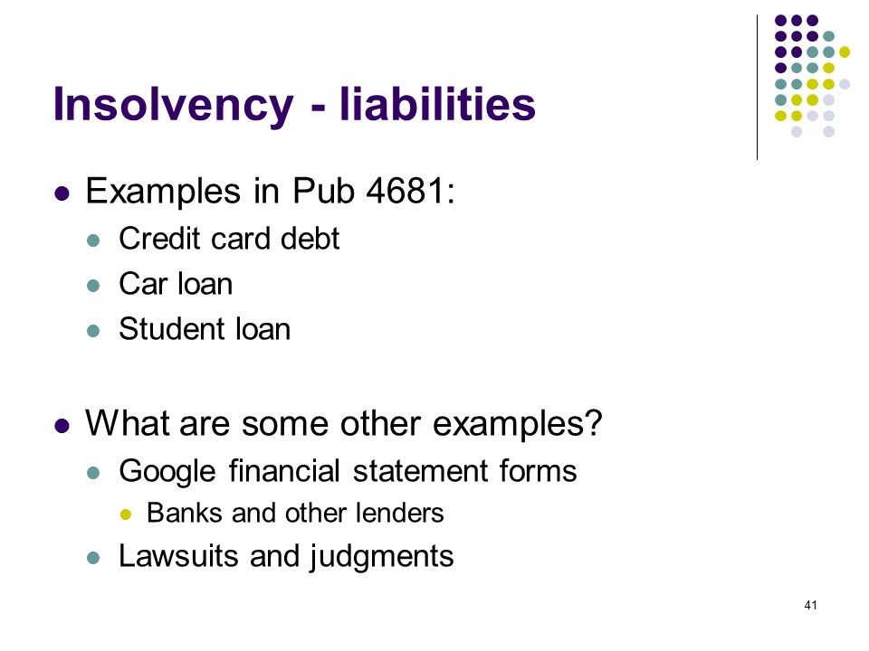 Insolvency - liabilities