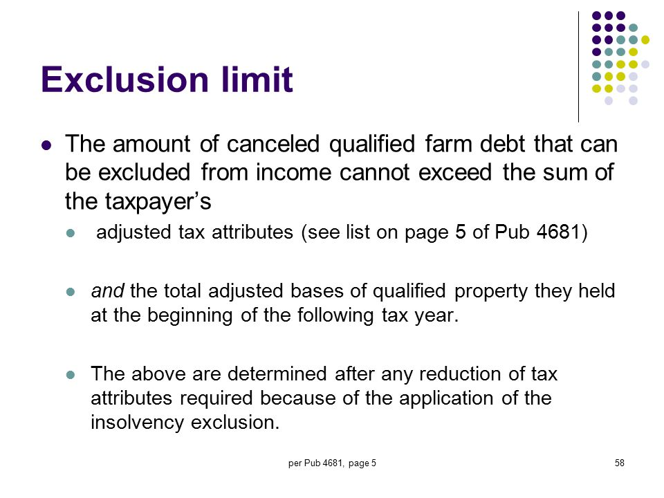 Exclusion limit The amount of canceled qualified farm debt that can be excluded from income cannot exceed the sum of the taxpayer's.