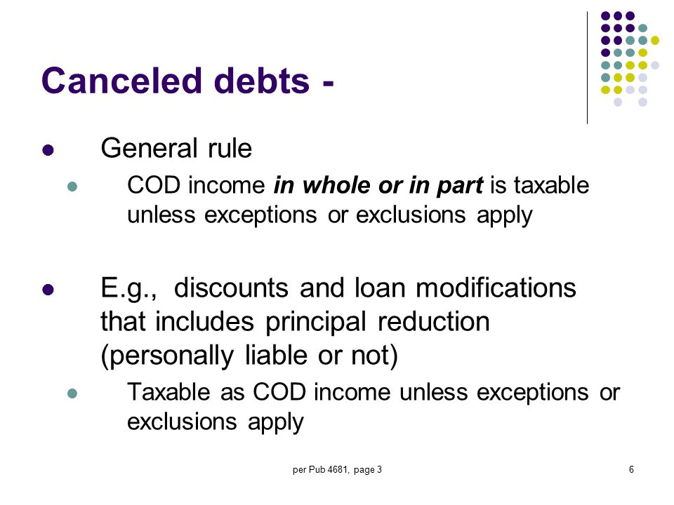 Canceled debts - General rule