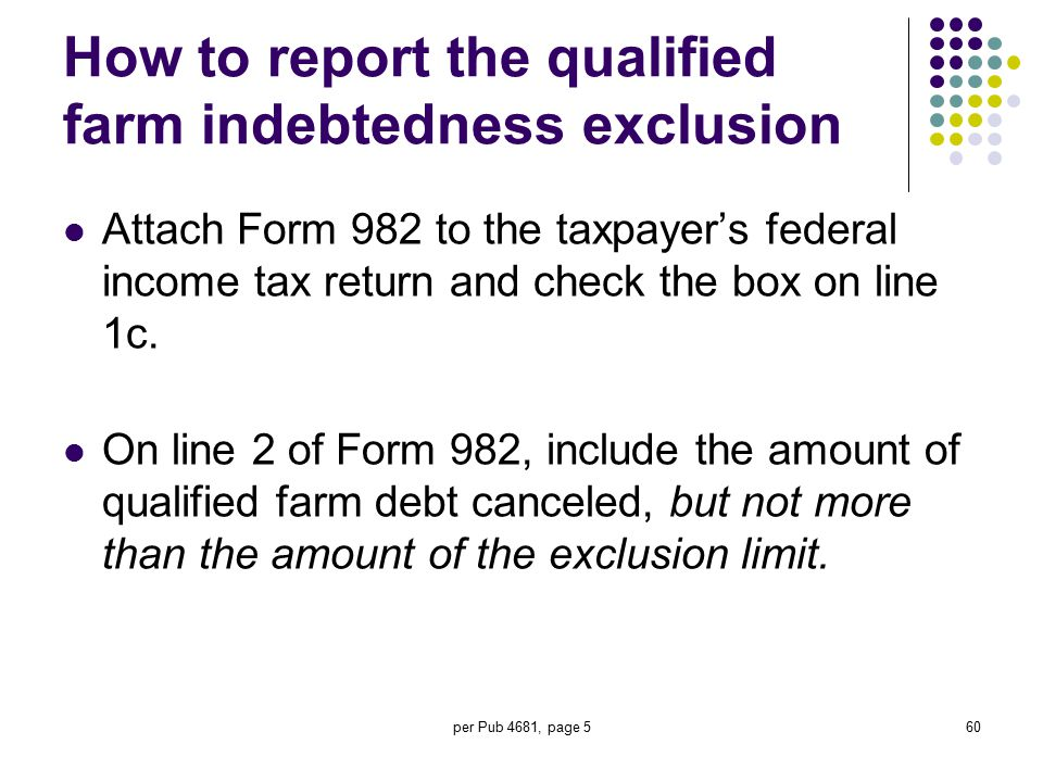 How to report the qualified farm indebtedness exclusion