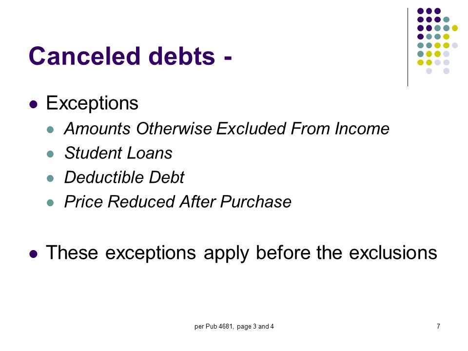 Canceled debts - Exceptions