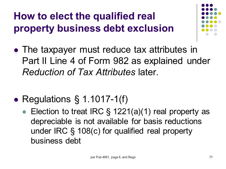 How to elect the qualified real property business debt exclusion
