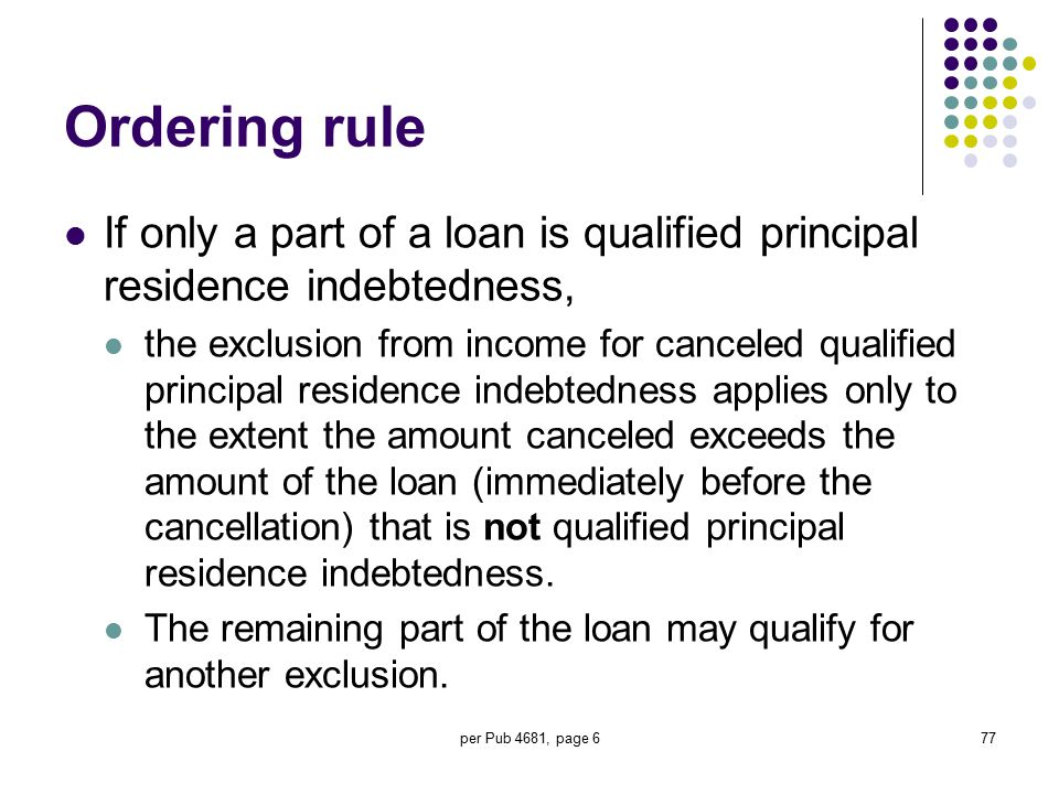 Ordering rule If only a part of a loan is qualified principal residence indebtedness,