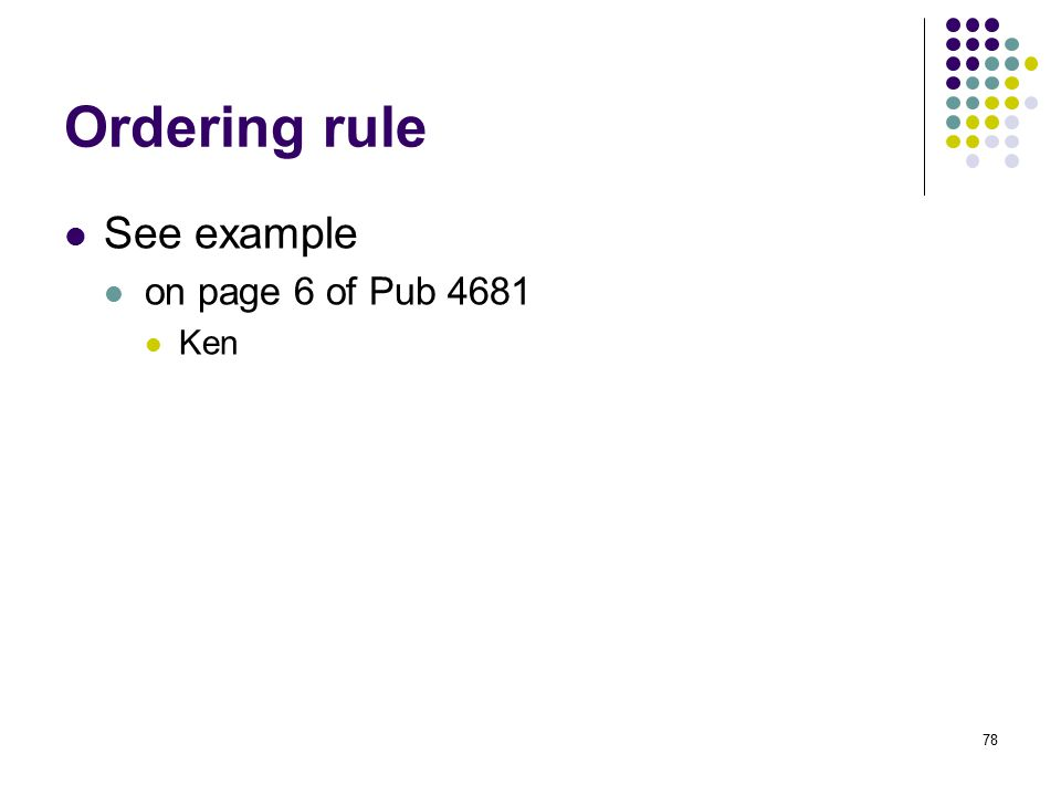 Ordering rule See example on page 6 of Pub 4681 Ken