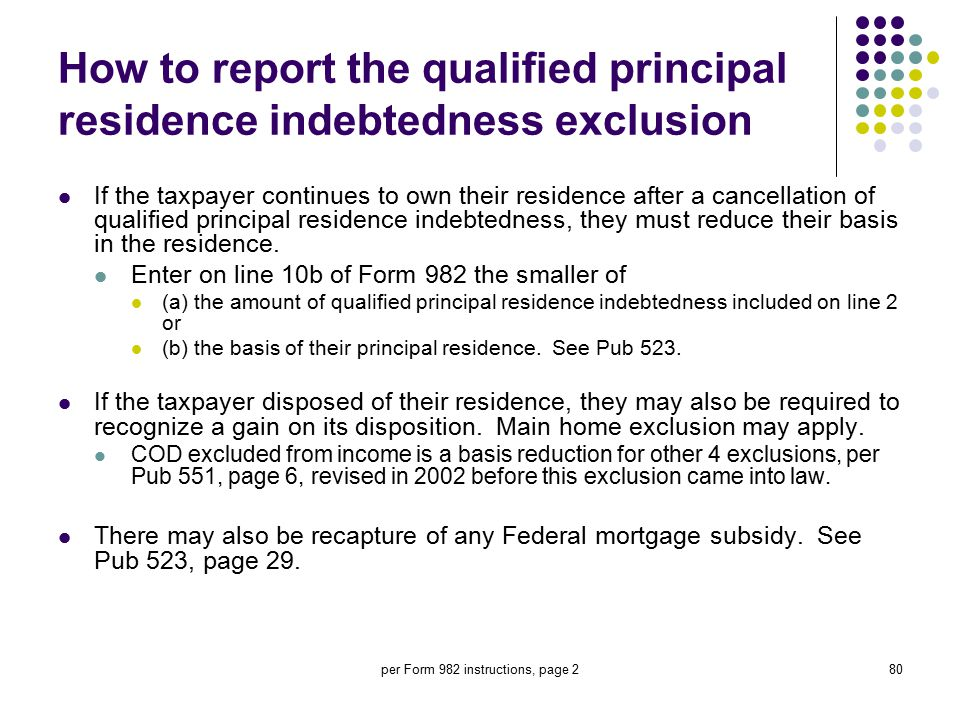 How to report the qualified principal residence indebtedness exclusion