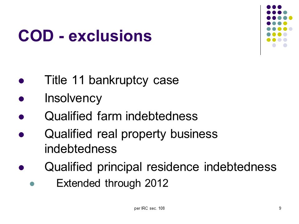 COD - exclusions Title 11 bankruptcy case Insolvency