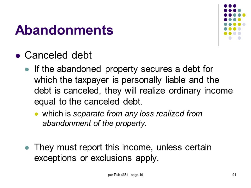 Abandonments Canceled debt