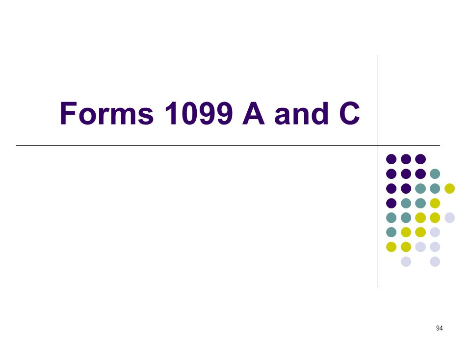 Forms 1099 A and C
