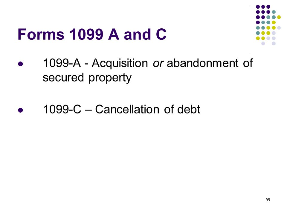 Forms 1099 A and C 1099-A - Acquisition or abandonment of secured property.