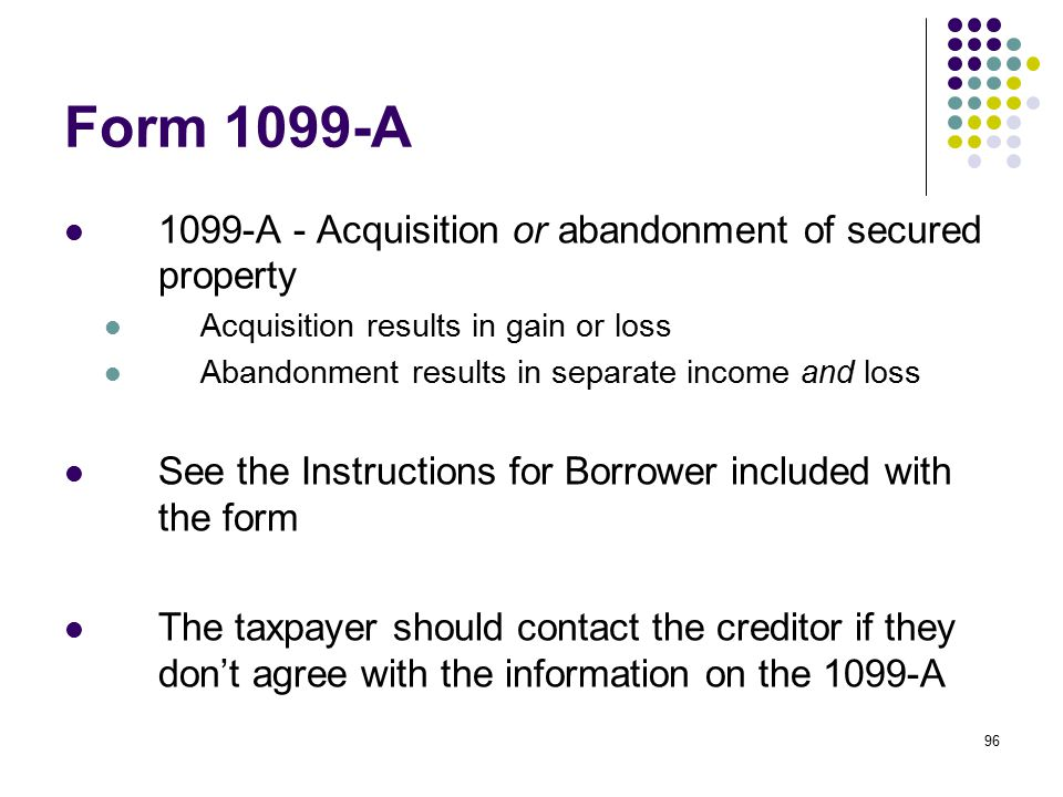 Form 1099-A 1099-A - Acquisition or abandonment of secured property