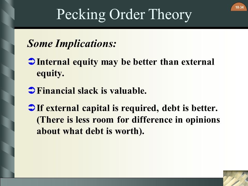Pecking Order Theory Some Implications: