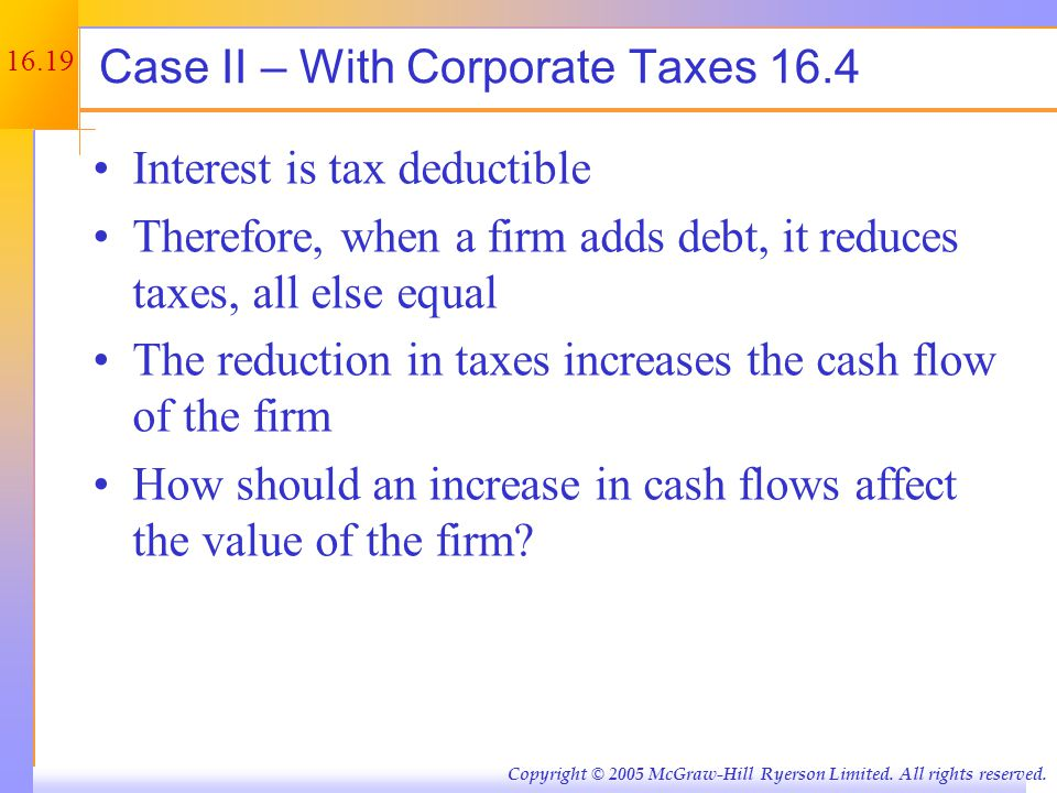 Case II – Example 1 Unlevered Firm Levered Firm EBIT 5000 Interest 500