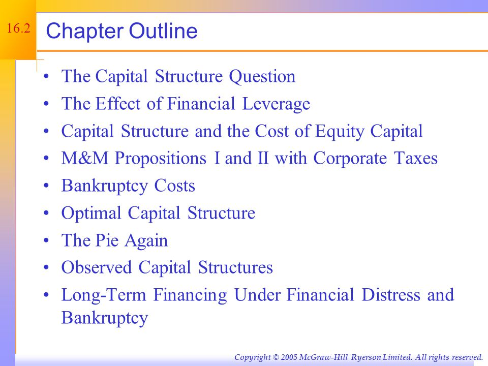 Capital Restructuring 16.1