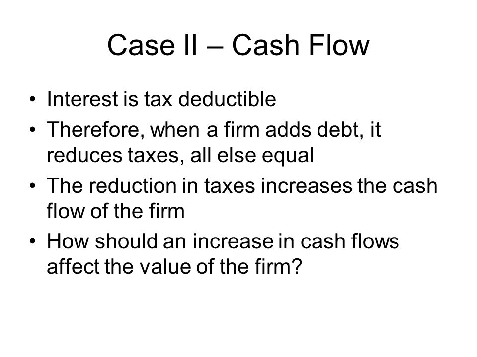Case II – Cash Flow Interest is tax deductible