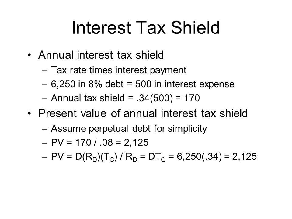 Interest Tax Shield Annual interest tax shield