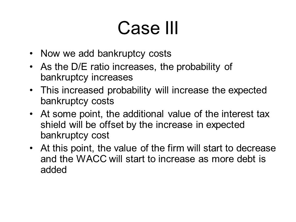Case III Now we add bankruptcy costs