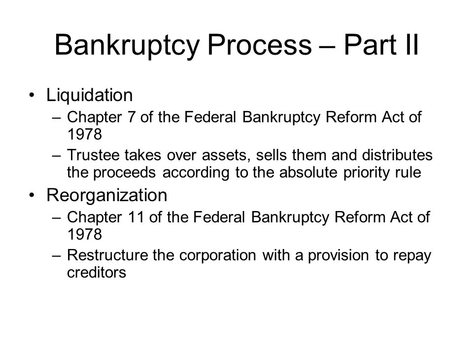Bankruptcy Process – Part II
