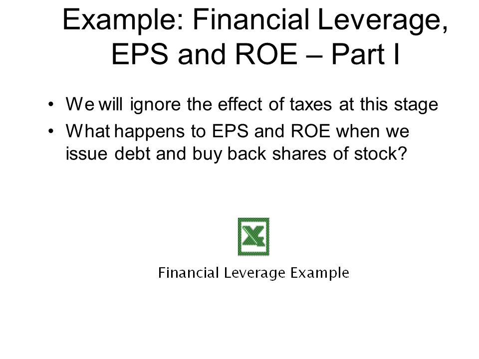 Example: Financial Leverage, EPS and ROE – Part I
