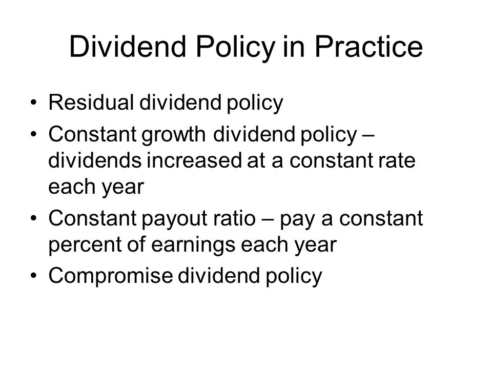 Dividend Policy in Practice