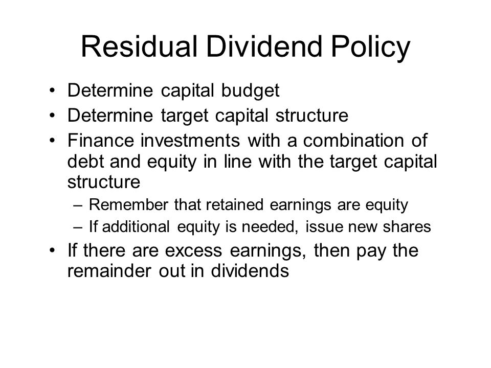 Residual Dividend Policy