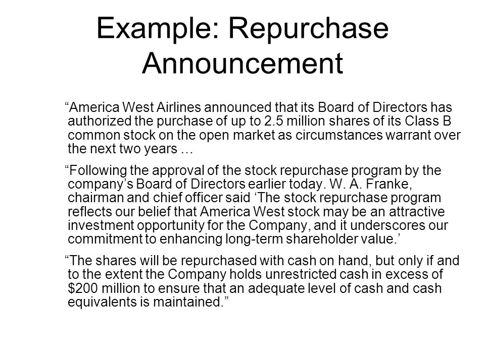 Example: Repurchase Announcement