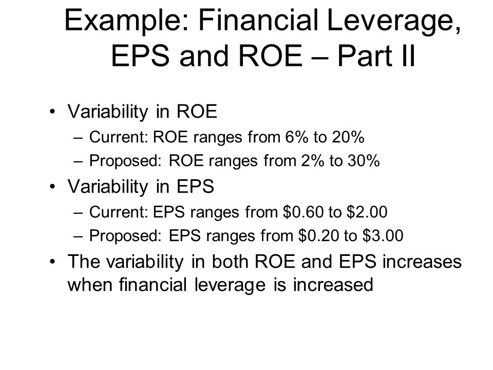 Example: Financial Leverage, EPS and ROE – Part II