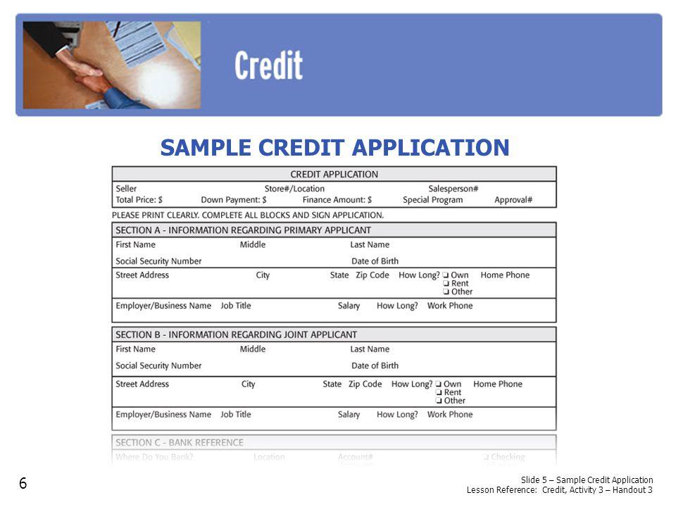 SAMPLE CREDIT APPLICATION