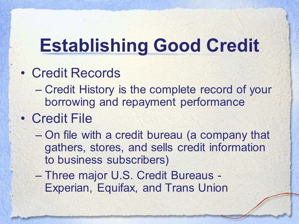 Establishing Good Credit