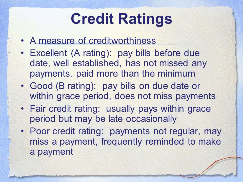 Credit Ratings A measure of creditworthiness