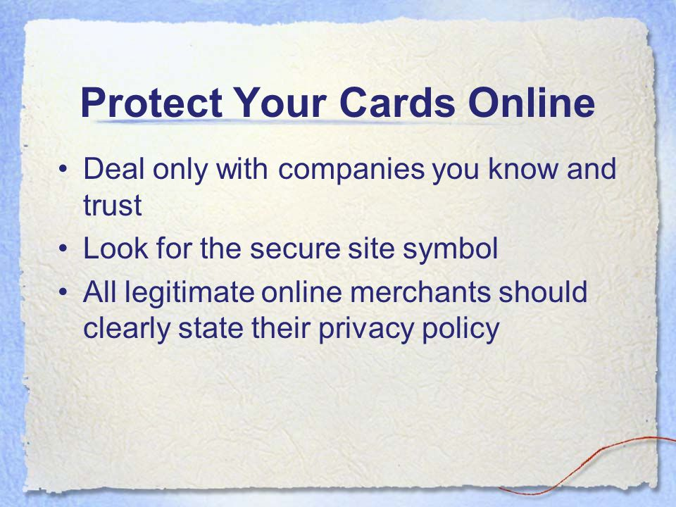 Protect Your Cards Online